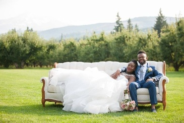 Newly Wed Couple on Couch - Wedding Packages Atlanta by Kris Lavender