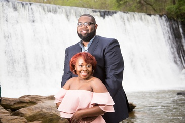 Couple Posing near Waterfall - Wedding Planner Atlanta GA at Kris Lavender