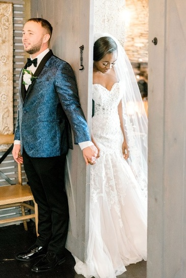Newly Wed Couple - Nate and Jennifer Standing Near the Door - Wedding Packages Atlanta by Kris Lavender