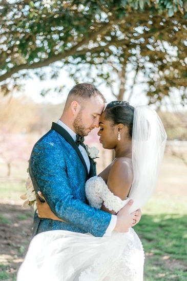 Bride and Groom Touch Foreheads - Nate and Jennifer Wedding Planner Atlanta - Kris Lavender