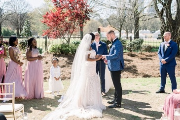 Nate and Jennifer Taking Wedding Vows - Wedding Planning by Kris Lavender - Atlanta Wedding Planner