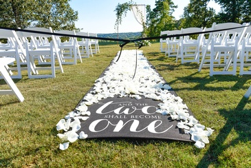 Wedding Aisle decorated with White Flower Petals - Wedding Planning Services by  Kris Lavender