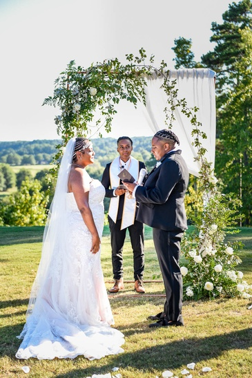 Candis and Mecha Taking Wedding Vows - Wedding Planning by Kris Lavender - Atlanta Wedding Planner